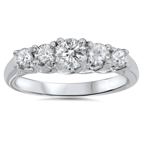 1ct Graduated Five Stone Diamond Ring 14K White Gold