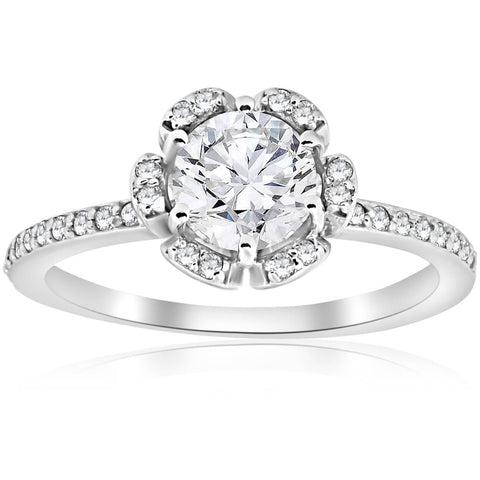 G/SI 1.00CT Diamond Engagement Ring Vintage Floral Halo 14k White Gold Enhanced
