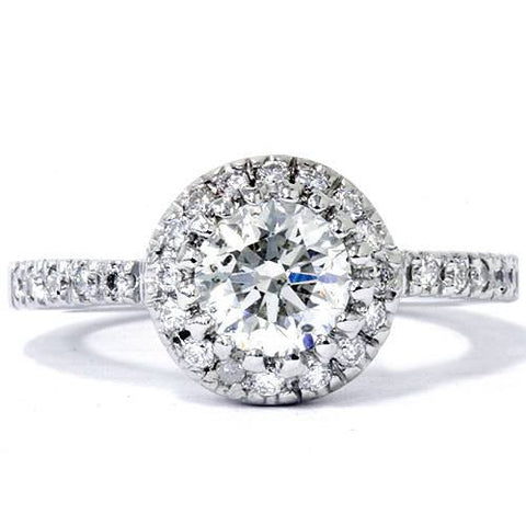 0.80 Ct F SI1 Round Cut Diamond Halo Engagement Ring 14k White Gold Enhanced