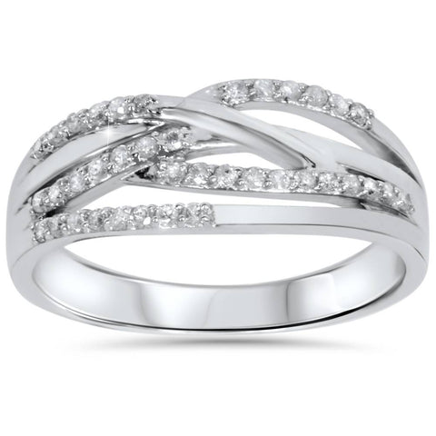 1/5ct Diamond Crossover Ring 10K White Gold