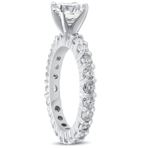 G/SI 2 cttw Diamond Eternity Engagement Ring Solitaire 14k White Gold Enhanced