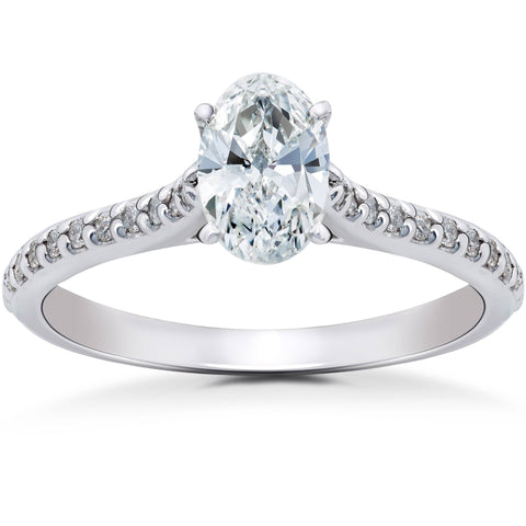 1 1/4ct Oval Diamond Engagement Ring Cathedral Setting Solitaire 14K White Gold