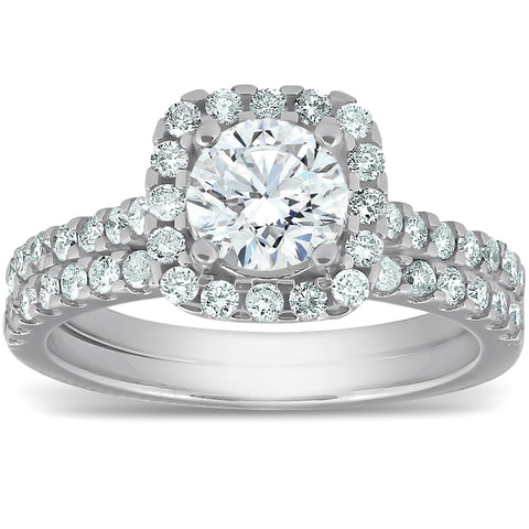 G/SI 2 ct Cushion Halo Diamond Engagement Ring Wedding Set White Gold Enhanced