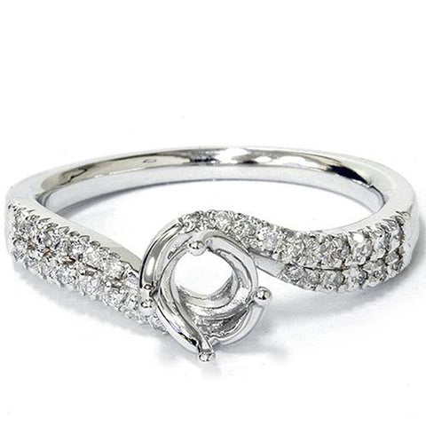 1/5ct Diamond Twist Engagement Ring Setting Solid 14K White Gold