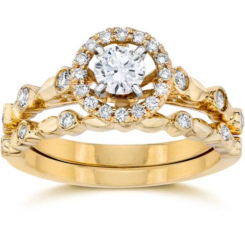 .60Ct Halo Diamond Engagement Wedding Ring Set 14K Yellow Gold
