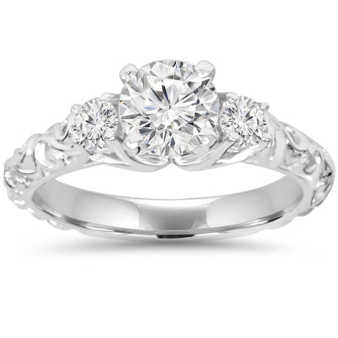 1 1/3Ct Vintage 3-Stone (1Ct Center) Enhanced Diamond Engagement Ring White Gold