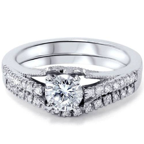 platinum 1ct diamond engagement matching wedding ring set vintage solitaire - Solitaire Wedding Ring Sets