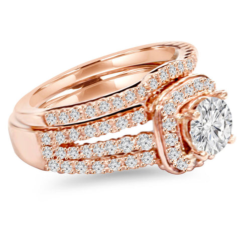 1.50Ct Cushion Halo Diamond Engagement Ring Set 14K Rose Gold