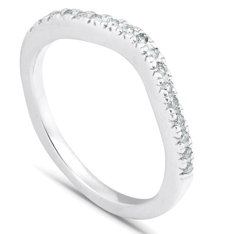 1/8 ct Curved Diamond Contour Wedding Engagement Notched Ring 14K White Gold
