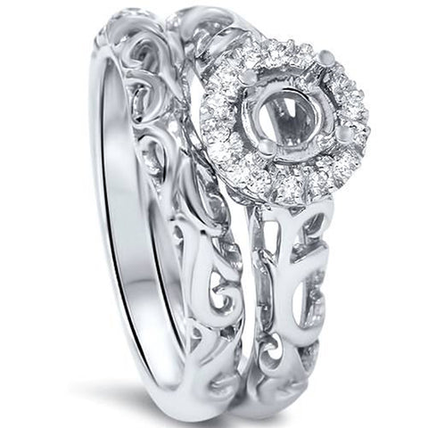 1/10ct Round Diamond Halo Vintage Engagement Ring Mount Set 950 Platinum