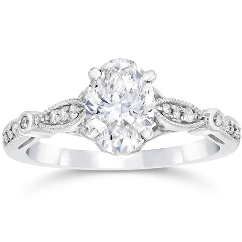 1 1/10ct Oval Diamond Vintage Engagement Ring Solitaire 14K White Gold Enhanced