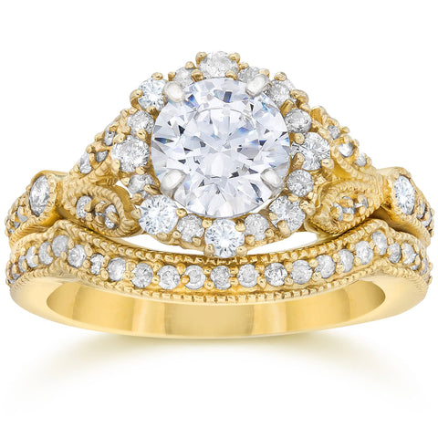 1 1/2ct Enhanced Diamond Engagement Vintage Engagement Ring Matching Yellow Gold