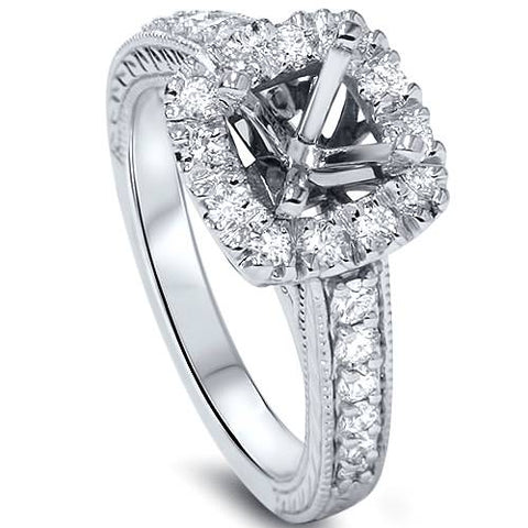 1/2ct Cushion Cut Halo Diamond Vintage Engagement Ring Setting