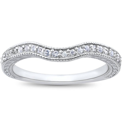 Vintage Curved Diamond Contour Wedding Ring for Engagement Band 14 K White Gold