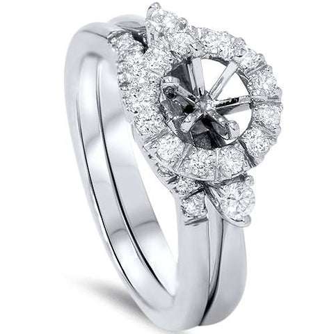 1/2ct Diamond Halo Engagement Setting Set 14K White Gold