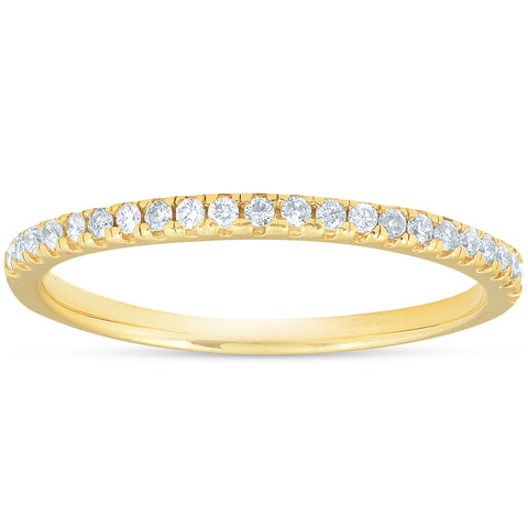 1/10CT Lab Grown Diamond Wedding Ring Womens Stackable Band 10k Yellow Gold