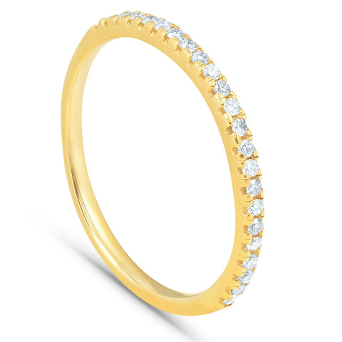 1/5CT Diamond Wedding Ring Womens Stackable Band 10k Yellow Gold