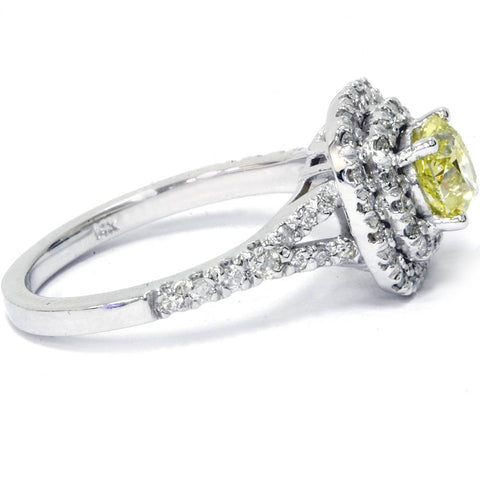 1 1/2 Ct Canary Cushion Enhanced Diamond Double Halo Engagement Ring White Gold