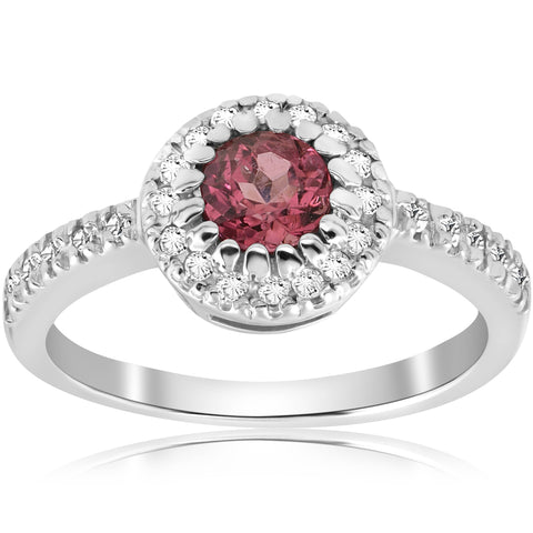 Pink Tourmaline 3/4ct Pave Halo Diamond Ring 14K White Gold Round Cut Jewelry