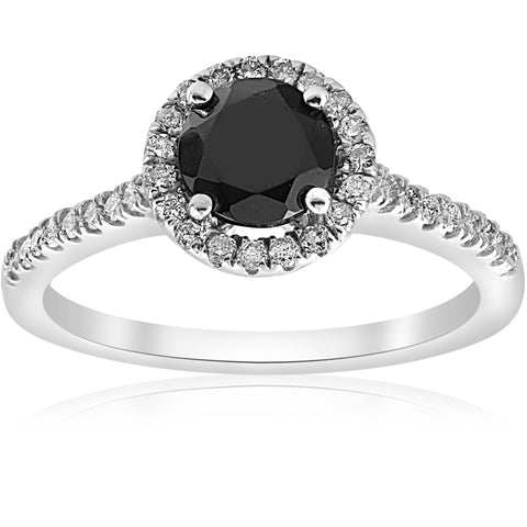 1 1/3 ct Black & White Halo Diamond Engagement Ring 14k White Gold