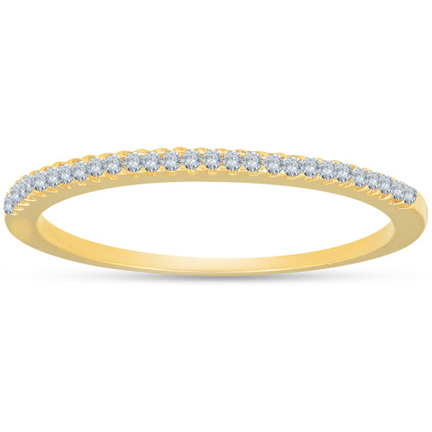 1/10 ct Diamond Wedding Ring 14k Yellow Gold Womens Stackable Band