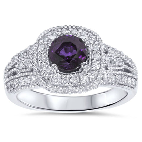 1 1/2ct Vintage Amethyst & Diamond Halo Ring 14K White Gold