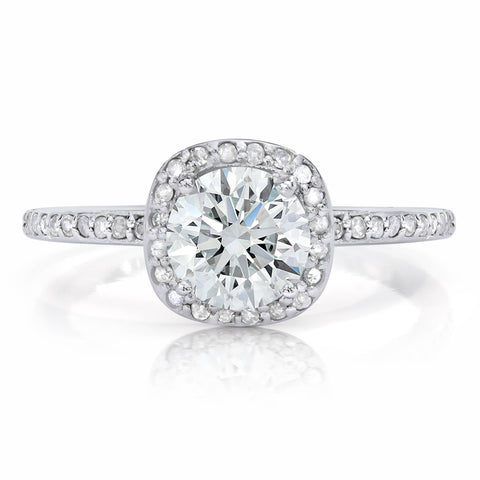 1 1/5ct Enhanced Diamond Engagement Ring Cushion Halo Vintage Ring