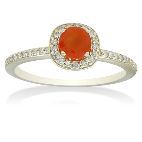 7/8ct Orange Sapphire & Diamond Cushion Halo Ring 14K Yellow Gold