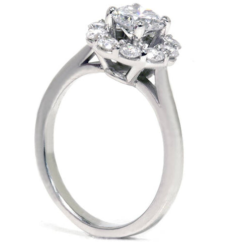 1 1/5ct Halo FIRE Diamond Engagement Ring 14K White Gold