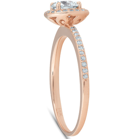 1 1/4ct Cushion Halo Rose Gold Enhanced Diamond Engagement Ring 14K