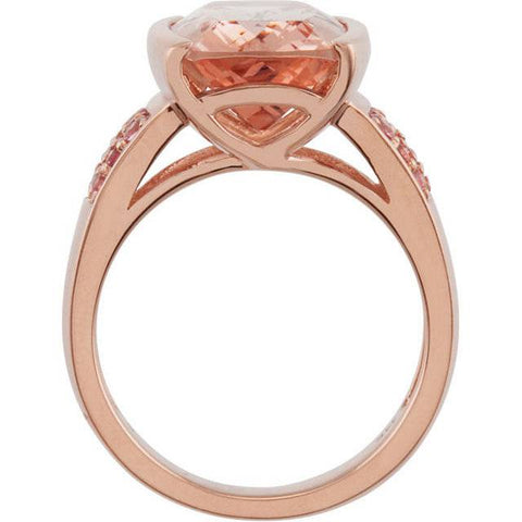 6 3/4ct Morganite & Pink Sapphire Vintage Ring 14K Rose Gold