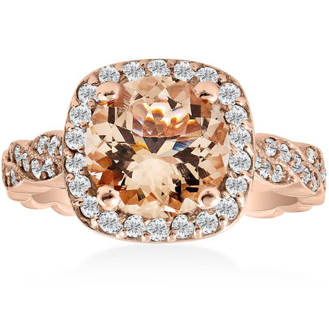 1 7/8ct Morganite & Diamond Engagement Vintage Halo Infinity Ring 14K Rose Gold