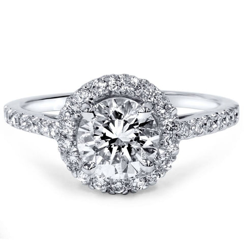 1 1/2ct Diamond Halo Engagement Ring 14K White Gold