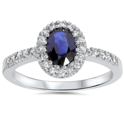 3/4ct Oval Blue Sapphire Halo Diamond Ring 14K White Gold