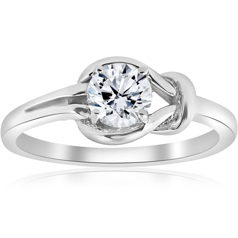 1/2 ct Everlong Round Real Diamond Solitaire Knot Ring 14K White Gold Jewelry