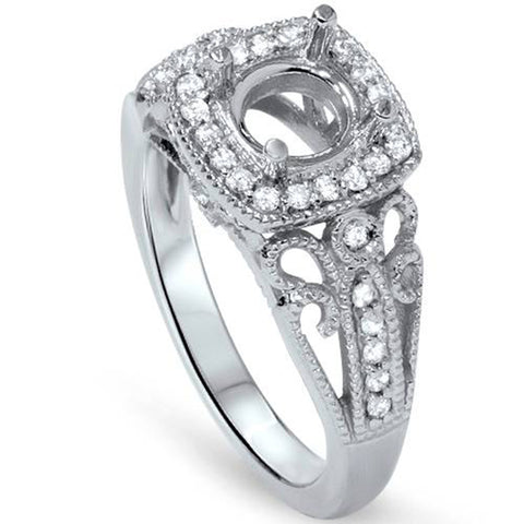 1/4ct Cushion Halo Diamond Engagement Ring Setting 950 Platinum
