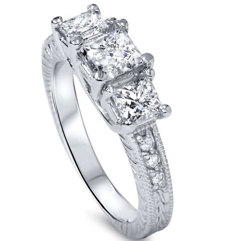 1 3/4ct Vintage Diamond Three Stone Princess Cut Engagement Ring 14K White Gold