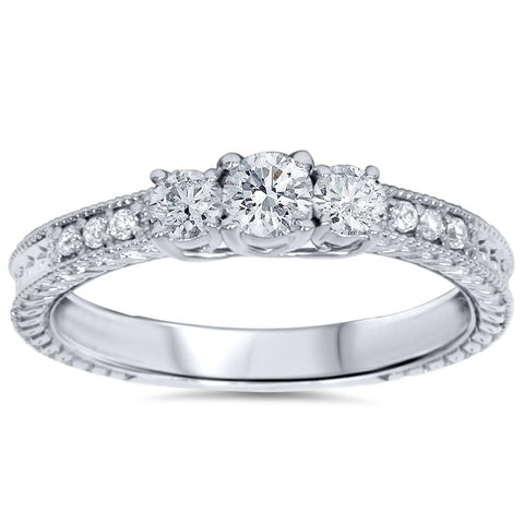 1 1/4ct Vintage Three Stone Diamond Engagement Ring Solid 14K White Gold