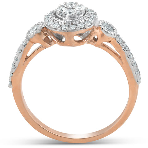 1/2 Ct Diamond Round Halo Vintage Engagement Ring 10k Rose Gold