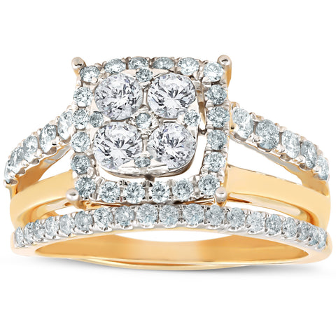 1 1/10 Ct Diamond Cushion Halo Engagement Ring Wedding Set 10k Yellow Gold
