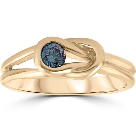 1/5ct Knot Treated Blue Diamond Solitaire Promise Ring 14K Yellow Gold