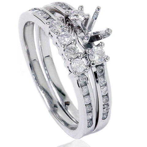 1/2ct Diamond Engagement Wedding Ring Semi Mount 14K White Gold