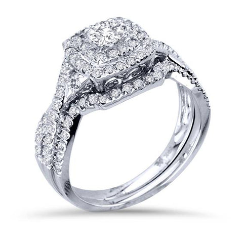 1 1/10ct Cushion Diamond Double Halo Engagement Wedding Ring Set 10K White Gold
