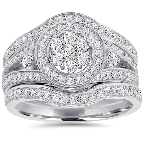 1.00Ct Halo Diamond Engagement Trio Wedding Guard Ring Set White Gold