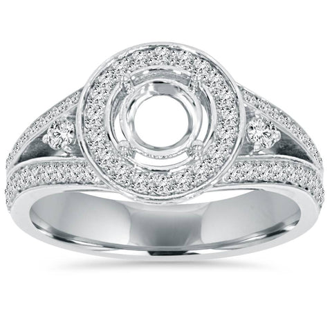 .55Ct Halo Split Shank Diamond Ring Setting 14K White Gold