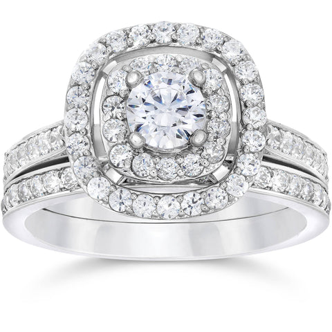 1 1/2ct Double Cushion Halo Real Diamond Engagement Wedding Ring Set White Gold