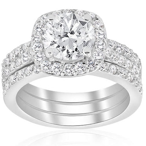 2 3/4ct Cushion Halo Diamond Engagement Wedding Ring Set 14k White Gold Enhanced