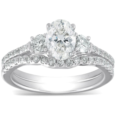 1 1/2 Ct Oval Shape Diamond Engagement Ring Wedding Set 14k White Gold Enhanced