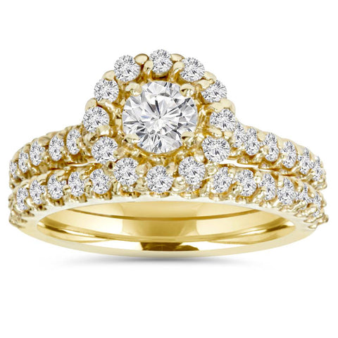 1 7/8ct Round Diamond Halo Engagement Wedding Ring Set 14K Yellow Gold
