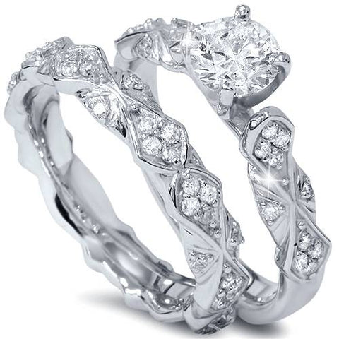 1 1/10ct Sculptural Solitaire Round Diamond Engagement Ring Set 14K White Gold